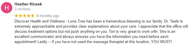 Chiropractic Lone Tree CO Patient Testimonial at Lone Tree Family Chiropractic and Injury Center